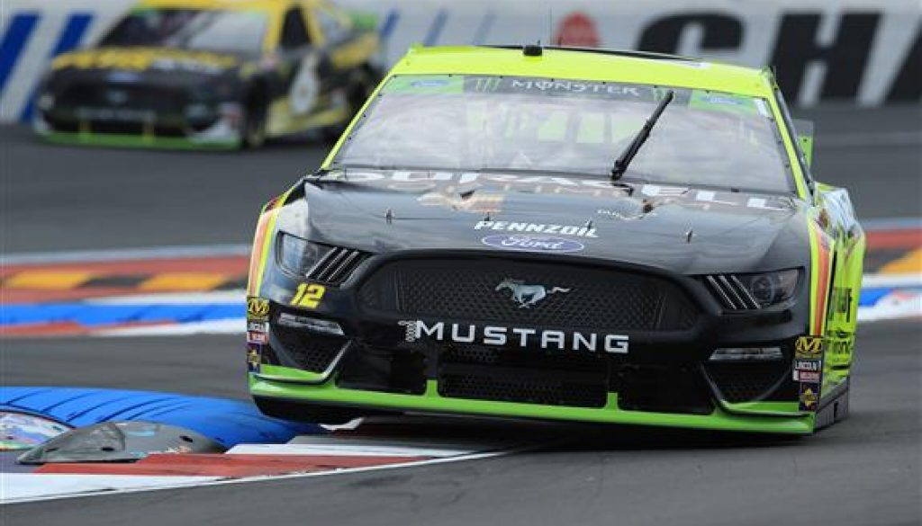 Ryan Blaney road course racing at the roval